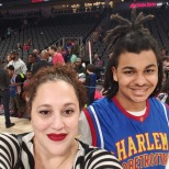 Mic and I Courtside at The Harlem Globetrotters